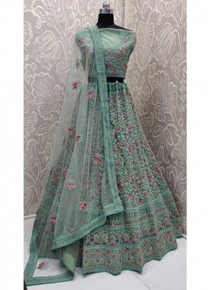 Net Lehenga Choli in Sea Green