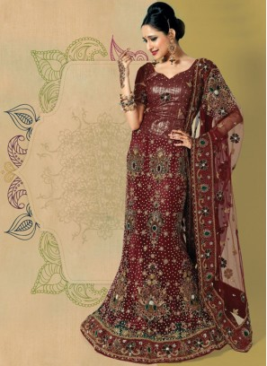 Net Patch Border Lehenga Choli for indian Bride
