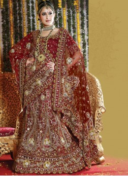 Net Patch Border Maroon Handwork Lehenga Choli
