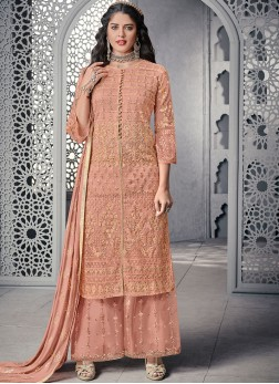 Net Pink Designer Palazzo Salwar Kameez