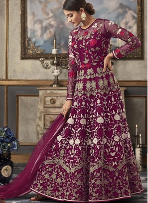 Net Purple Resham Floor Length Anarkali Suit