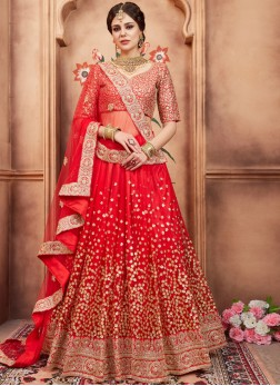 Net Red Resham Lehenga Choli