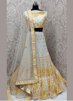 Net Resham yellow work designer gher Lehenga Choli