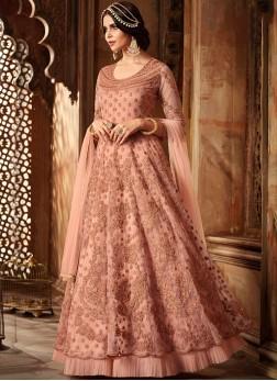 Net Resham Peach Floor Length Anarkali Suit