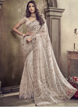Net Sequins Classic Designer Saree in White