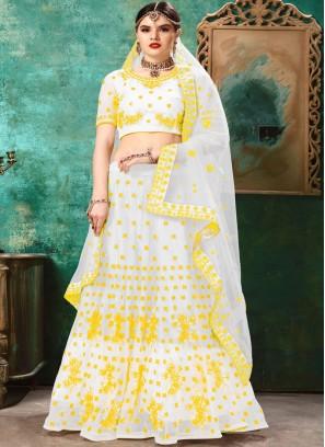 Net White and Yellow Lehenga Choli