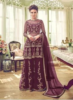 Net Wine Embroidered Designer Palazzo Salwar Suit