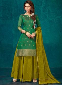 Nice Fancy Green Jacquard Silk Readymade Lehenga Choli