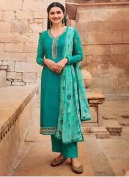 Nice-Looking Festival Wear designer Salwar Suit In Cadet Blue