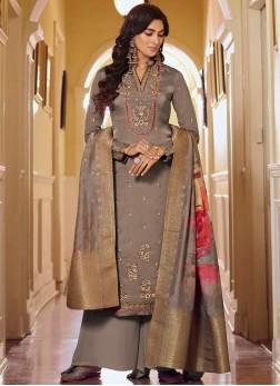 Nice-Looking Trendy Wear Palazzo Style Salwar Suit In Grey