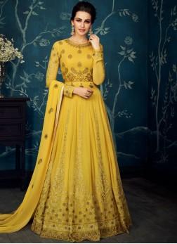 Nice Net Yellow Anarkali Suit