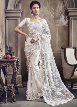 Nice White Wedding Classic Designer Saree