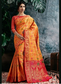 Nice Zari Banarasi Silk Orange and Red Traditional Saree
