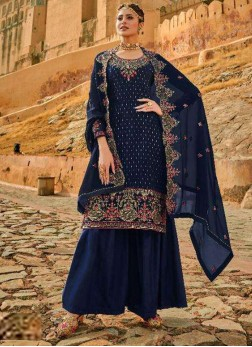 Nicety Embroidery Designer Salwar Suit In Navy Blue With Dupatta