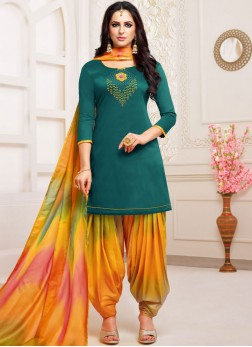 Noble Embroidered Art Silk Teal Designer Patiala Suit