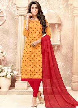 Observable Fancy Fabric Yellow Embroidered Churidar Suit