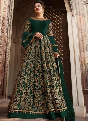 Observable Net Thread Green Anarkali Suit