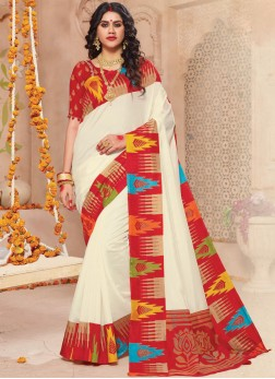 Off White Color Classic Saree