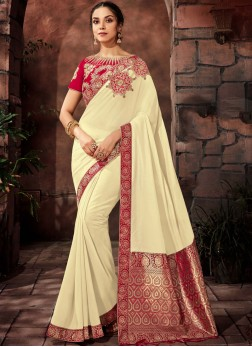 Off White Color indian reception saree