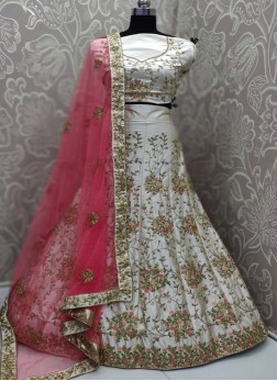 Bone white paper silk embroidery lehenga choli with blouse