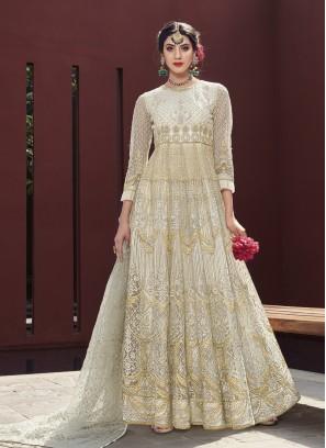 Off White Net Anarkali Suit