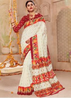 Off White Patola Silk  Weaving Traditional Saree