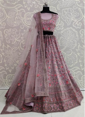 Onion Purple Designer Wedding Lehenga Choli
