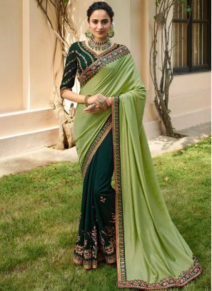 Opulent Embroidered Fancy Fabric Designer Half N Half Saree
