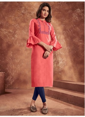 Opulent Salmon Pink Cotton & Heavy Embroidery Work Balloon Slives Kurti