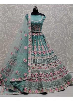 Opulent Thread - Zari Work ON Net Bridal Lehenga Choli In Cadet Blue