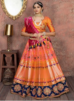 Orange And Pink Dori Work bridal Lehenga