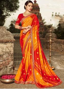 Orange and Red Art Silk Shaded Saree