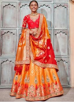 Orange and Red Patch Border Bridal Lehenga Choli