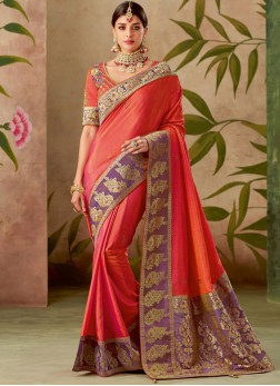 Orange Art Silk Embroidered Traditional Designer Saree
