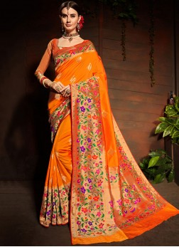 Orange Art Silk Weaving Designer Saree