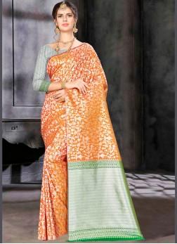 Orange Banarasi Silk Weaving Traditional Saree