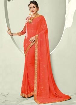 Orange Border Ceremonial Trendy Saree