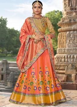 Orange Bridal Jacquard Silk Designer Lehenga Choli