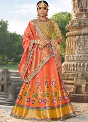 Orange Bridal Jacquard Silk Designer Lehenga Choli