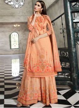 Orange Cotton Digital Print Designer Palazzo Salwar Kameez