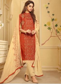 Orange Embroidered Festival Churidar Suit