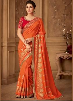 Orange Embroidered Mehndi Classic Saree