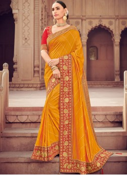 Orange Embroidered Traditional Designer Saree