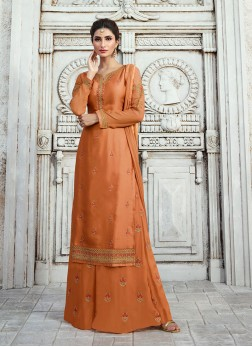 Orange Georgette Satin Designer Palazzo Salwar Suit