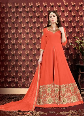 Orange Georgette Wedding Designer Floor Length Suit