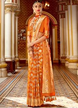 Orange Weaving Wedding Designer Banarasi Saree
