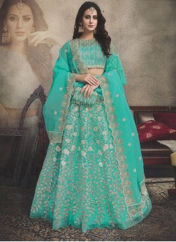 Organza Embroidered Designer Lehenga Choli in Sea Green