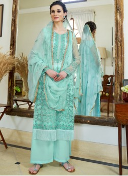 Organza Embroidered Turquoise Designer Palazzo Salwar Suit