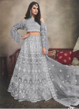 Organza Grey Embroidered Designer Lehenga Choli