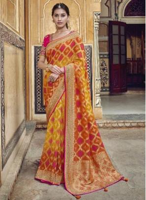 Ornate Orange & Red Designer Pure Dola Silk Saree